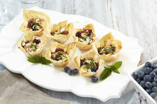 Blueberry Goat Cheese Sweet Chili Phyllo Cups