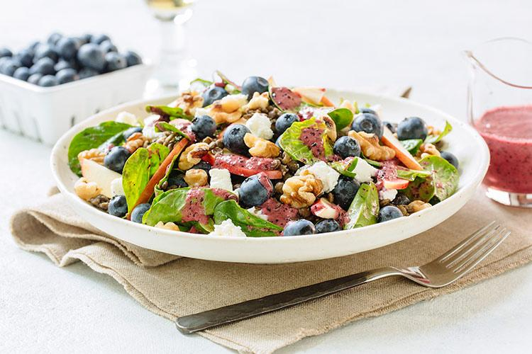 Blueberry Spinach Lentil Salad