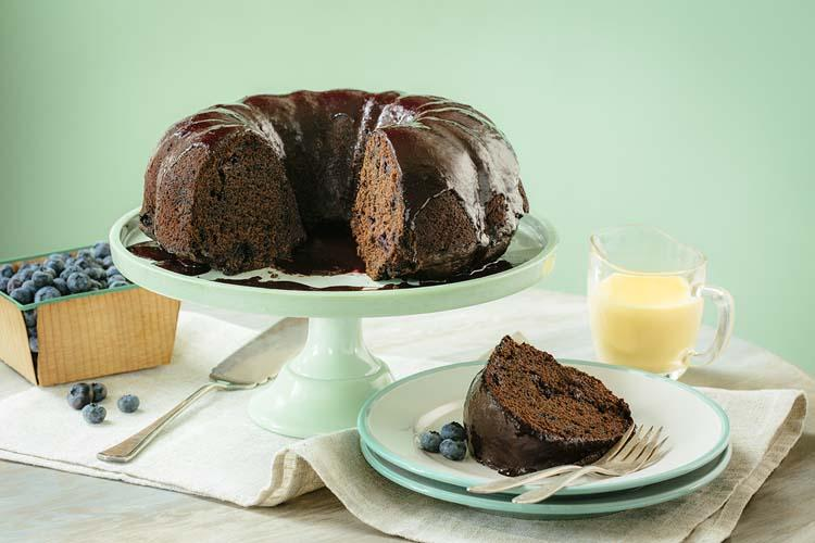 Blueberry Chocolate Stout Bundt Cake