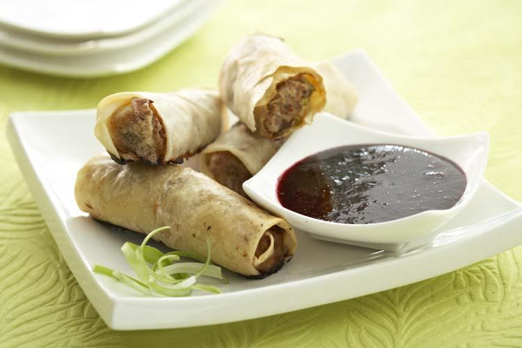 Baked Pork Spring Rolls with Blueberry Dipping Sauce