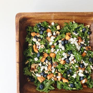 Roasted Yam & Blueberry Kale Salad