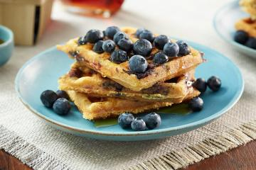 Blueberry Bacon Cornmeal Waffles