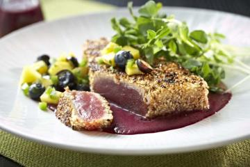 Sesame Crusted Tuna with Blueberry Ponzu Vinaigrette