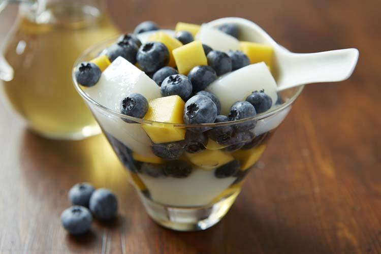 Almond Jelly With Blueberries & Mango