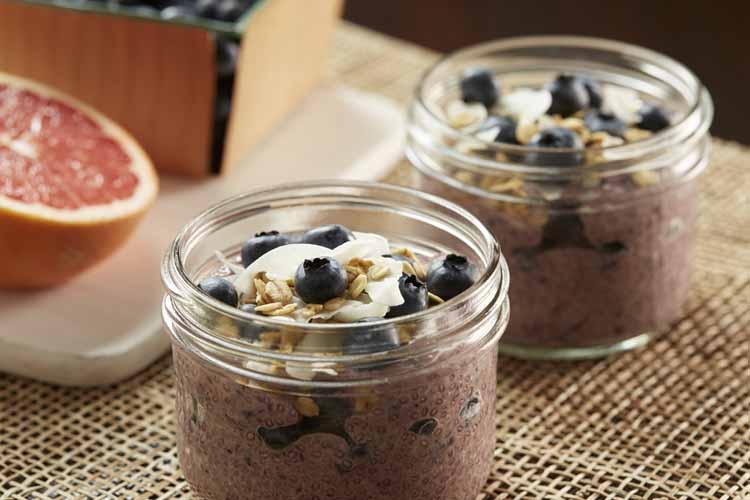 Blueberry Coconut Chia Pudding With Grapefruit