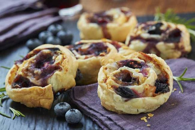 Savoury Blueberry Scroll Biscuits